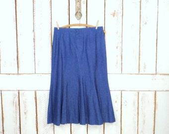 Vintage blue denim flair jean skirt/denim mini/mid length skirt/high waisted skirt