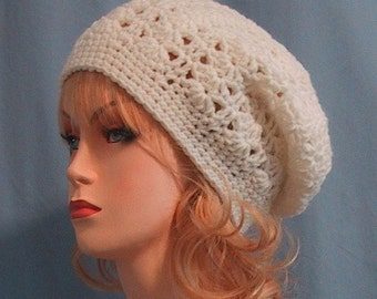Ivory Slouchy Hat - Hand Crocheted - Soft Acrylic Yarn in Ivory - Handmade - Ladies Size Small/Medium - Nice Gift