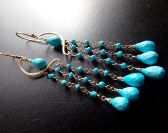 Turquoise Waterfall Long Chandelier Earrings Glamourous  Statement Earrings 14k Gold Filled Wire Wrapped Earrings