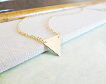 Triangle Necklace. Small Gold Triangle Charm Pendant. Modern Minimal Geometric Jewelry. Layering Necklace