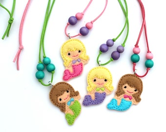 Mermaid Necklace, Kids Necklace, Little Girls Jewelry, Party Favor, Birthday Party Favor, Felt Jewelry, Toddler Necklace, Baby Necklace