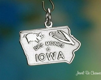 Sterling Silver Iowa Charm State America USA Des Moines Solid .925