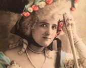 Belle Epoque French Postcard - De Somar  - Edwardian Actress - Antique Photo - Pink and Blue