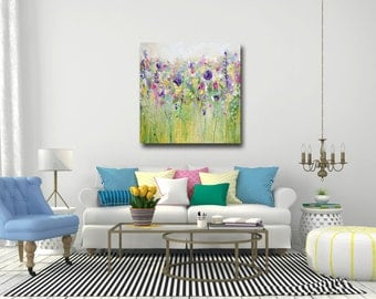 Flower Canvas Print, Large Giclee Print, Wall Art, Floral Canvas, Flower Painting, Large Green Yellow Canvas, Meadow Painting, Green, Yellow