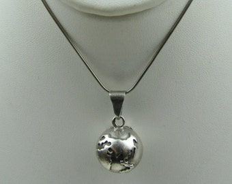 Sterling Silver Globe Pendant. Taxco Mexico Planet Earth Tibetan Bell Necklace & Chain. Vintage Mexican Silver Jewelry. Ball Sphere Charm