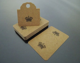 100pcs Fold Over Kraft Hang Tag with Crown for Earring, Necklace, Bracelet, Ponytail, Hairband, Elastic, Jewelry Display and Supplies
