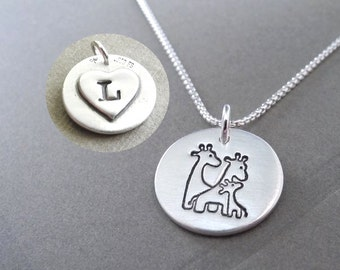 Personalized Small Giraffe Family Necklace, Heart Monogram, Fine Silver, Sterling Silver Chain, Made To Order