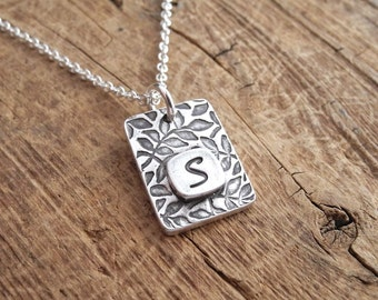 Branches Monogram Necklace, Personalized Initial Necklace, Fine Silver, Sterling Silver Chain, Made To Order