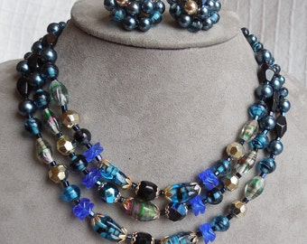 1950s Multi Strand Blue Art Glass Bead Choker Necklace & Earrings Set Japan    MDE25