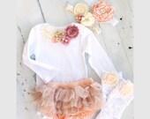 Floral Bib Collar Bodysuit. Holiday Mauve, Ivory, Peach and Gold Baby Girl Gift Set. Bodysuit, Diaper Cover, Ruffle Rose Leggings & Headband