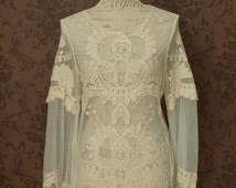 Lace blouse, ivory cream Victorian inspired lolita shirt boho chic steampunk blouse romantic