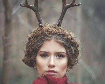 Deer antler headband Satyr horns Horn Headband, Burning man, Festival, moss crown, nature Crown, faun headpiece,Faux Antler