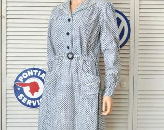Vintage 30s 40s Cotton Print Womens Daywear Dress/Blue & Purple Floral/Lace Trim/Long Sleeve/Theater Costume/Large Antique Kenrose Dress