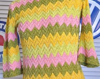 Vintage 60s Womens GoGo Mod Sweater/Blouse Shirt Top/Chevron Pattern/Bright Colors Pink Yellow Green/ Della Junior Petites/Knit Costume