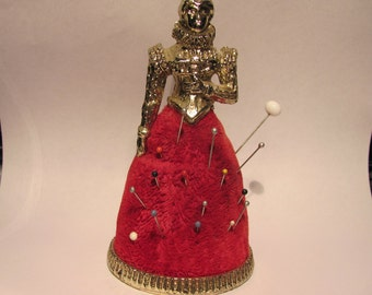 Vintage Queen Victoria Red Velvet Pin Cushion