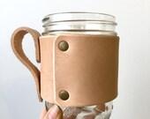 Leather Mug Wrap- Ready to Ship- Leather Jar Wrap- Leather Jar Cozy- beverage cozy- jar cozy- jar wrap