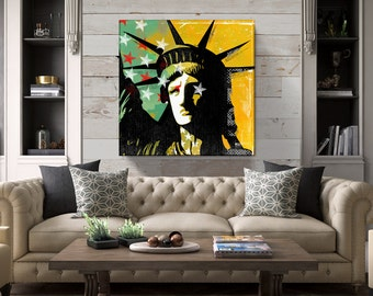 Statue of Liberty, New York Pop Art, large Canvas Art, America Art, Farmhouse, Industrial Art, Man Cave Decor, Canvas Print, 36x36 art