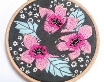Swallow and flowers.DIY Embroidered wall art.Embroidery Kit.Home decor. Modern vintage design.Pink. Black and white.Craft Kit. Gift for her.
