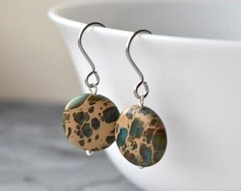 Aqua Terra Jasper Earrings, Gemstone Jewellery, Teal Blue Green, Hypo Allergenic, Surgical Steel, UK