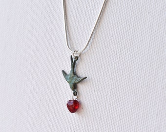 Love Bird Necklace, Bird and Heart, Swallow, Pendant, Patina, Red Heart, Valentines Day, Silver Chain, UK Jewellery