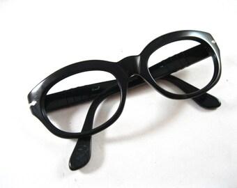 Persol vintage black eyeglasses or sunglass frames. Meflecto pins. Unisex.