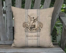 French Country Grain Sack Style Pillow Cover - French Renommee Pillow - 12x 14x 16x 18x 20x 22x 24x 26x 28x 30x 32x Inch Linen Cushion