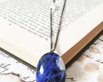 Blue Gemstone necklace, Planet Earth necklace, Planet Earth Jewelry, Sodalite pendant necklace, Moonstone necklace - Earth
