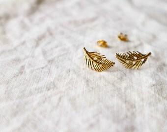Gold Leaf Post Earrings / Gold Leaf Stud Earrings.