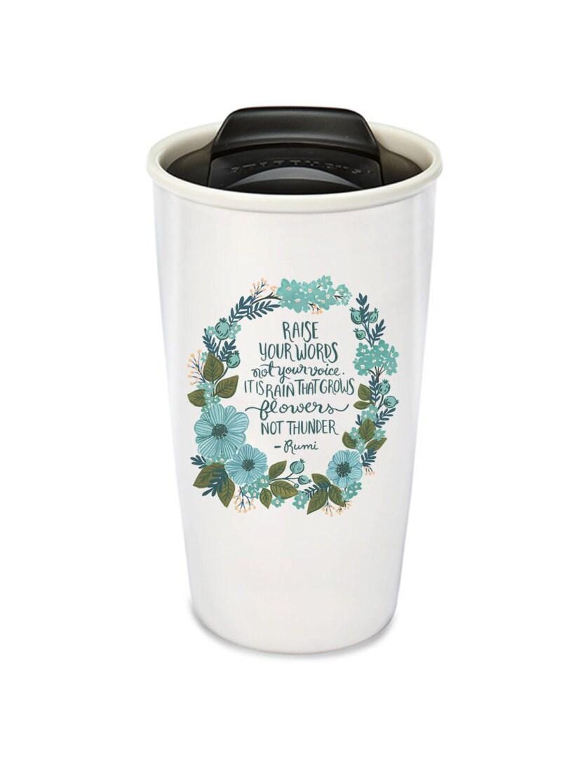 Ceramic Travel Mug Coffee Tumbler Inspirational Mugs