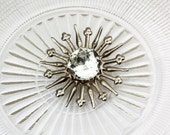 Vintage Stamped Ornate Shamrock Sunburst Rhinestone Button, 30mm, Loop Shank, 1pc