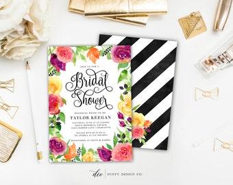 Bridal Shower Invitation, Bridal Shower Invite, Pink Purple Yellow Floral Shower Invite, Floral Shower Invite, Wedding Shower, 5x7 Printable