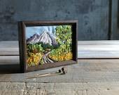 Vintage Framed Needlework Outdoor Scene