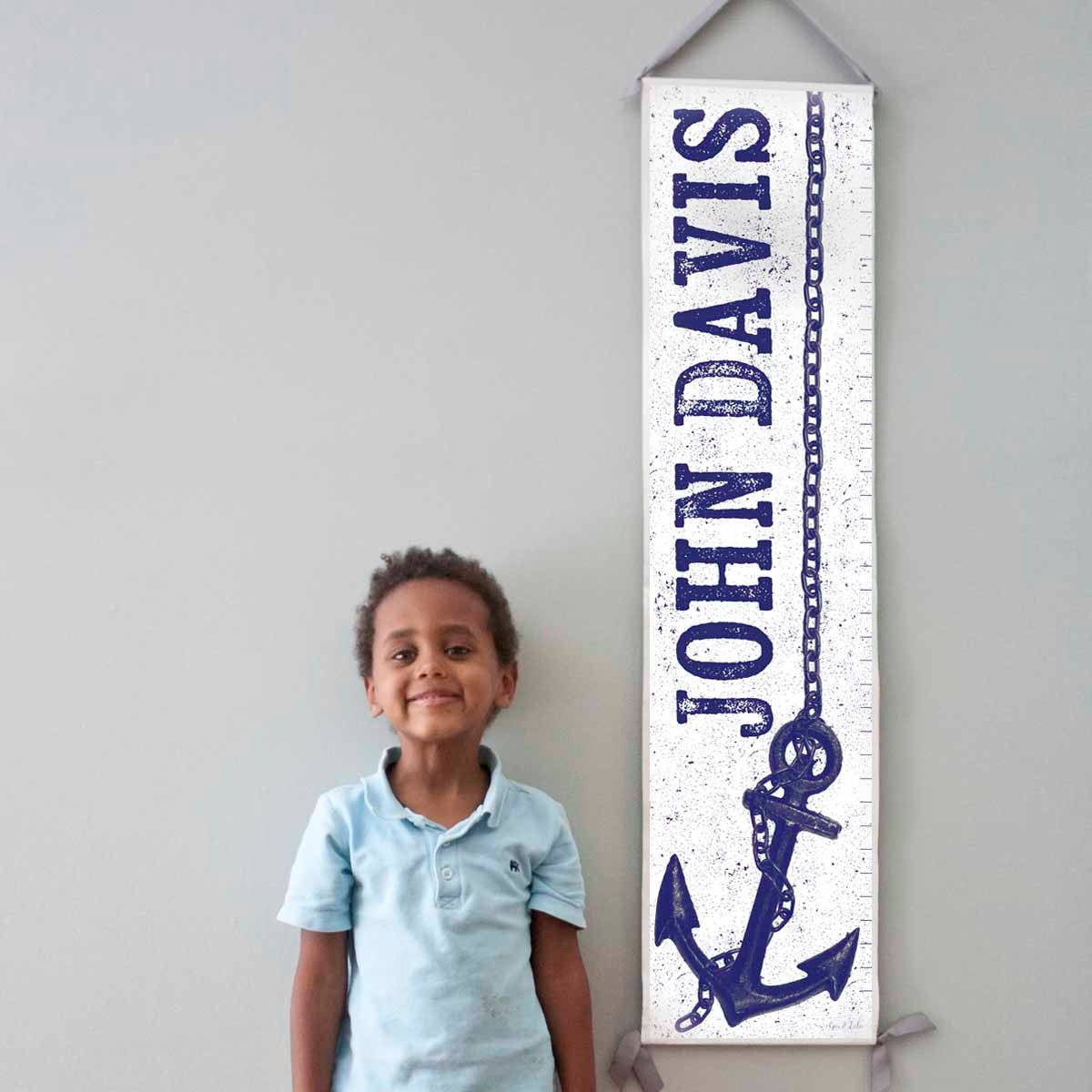 Custom/ Personalized nautical navy and white anchor canvas growth chart