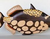 Clown Triggerfish Intarsia Wall Hanging Wooden Fish Carving Wood Decor Tropical Reef Sealife