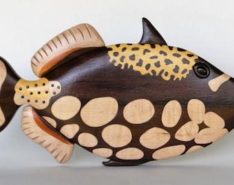 Clown Triggerfish Intarsia Wall Hanging Wooden Fish Carving Wood Decor Tropical Reef Sealife Marine Decor Ocean Animal