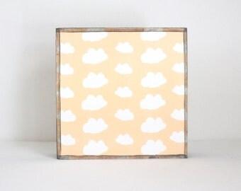 clouds nursery art, baby girl nursery decor, gender neutral baby, childrens wall art, baby room art, art block, clouds, redtilestudio