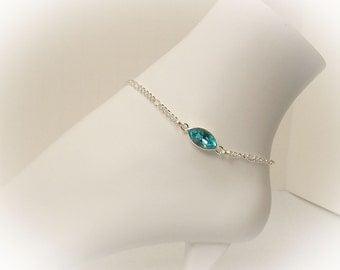"""Crystal Anklet Ankle Bracelet Silver Anklet With Turquoise Swarovski Crystal 11"""" Anklet Adjustable Anklet Crystal Navette Anklet - 16090"""