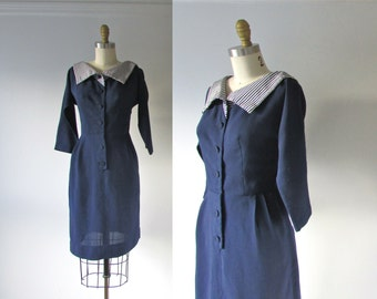 vintage 1950s dress / 50s dress / Anchors Aweigh