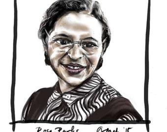 Rosa Parks, A4 Fine Art Portrait Drawing Print