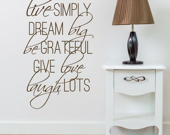 Wall Decal Inspirational Motivational Live Simply