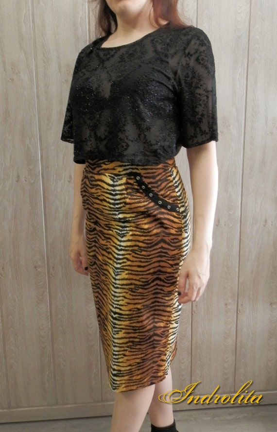 Animal Print Pencil Skirt, with pockets ,  Pin Up Rockabilly