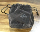 Authentic new never used Dark Chocolate Dark Brown HERMES Watch or Jewelry Pouch - drawstring closure - velvety - just acquired in Singapore