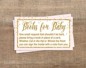 Pink Baby Shower Book Request, Printable Pink & Gold Glitter Confetti Invite Insert, Baby Girl, Books for Baby, INSTANT DOWNLOAD