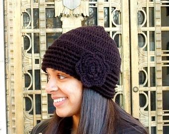 Crochet Hat, Beanie, Cloche, Flower, Adult, Women, Teen, Black, Ready To Ship,