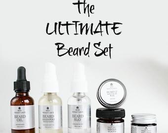 The ULTIMATE Beard Set | Beard Oil, Beard Shampoo, Spray, Beard Balm, Wax and Scrub | Mens Gift Set | 100% natural beard care set
