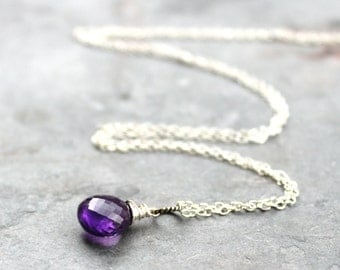 Amethyst Necklace Silver Sterling Gemstone Purple Briolette Necklace Pendant February Birthstone