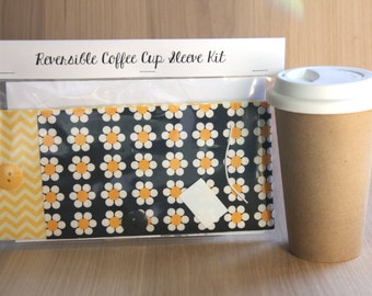 DIY Coffee Cup Sleeve Sewing Kit - Daisies and Yellow Chevron - Ready to Ship