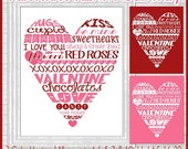 Valentine HEART Subway Art, Valentine's Day Decor, Gift or Decor - Printable Instant Download