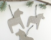 Set of 3 Swedish Dala Horse Christmas Tree Ornaments Made from Recycled Materials