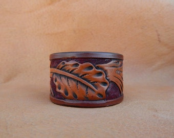 leather cuff bracelet  handcrafted tooled leather  rustic boho jewelry